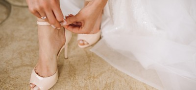 Female wedding shoes close up